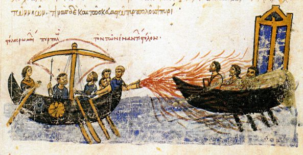 Greek fire in the Madrid Skylitzes